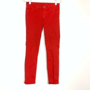 J Brand 27 Red Jeans Pants Super Skinny Lipstick